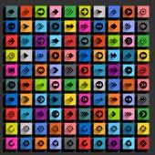 100 arrow flat icons set — Stockvektor