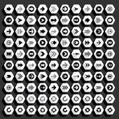 100 arrow flat icons set — Stock Vector