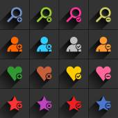 16 additional sign flat icons — Stockvector