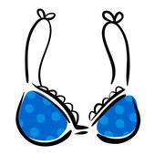 Blue bra with polka dot pattern — Stock Vector