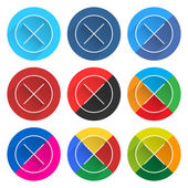 9 popular social network icon set with plus sign in circle — Stock Vector
