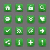 16 dark green web icons — Stock Vector