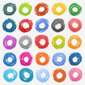 25 circle form colored brush stroke — Stock Vector