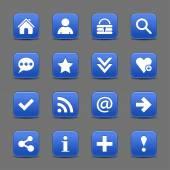 16 cobalt web icons — Stock Vector
