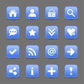 16 blue web icons — 图库矢量图片