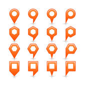 Orange color map pin icon satin location sign with empty copy space — Stock Vector