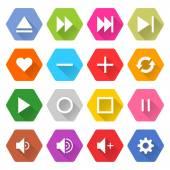 16 media icons — Stock Vector