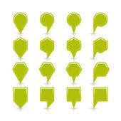 Zielony kolor mapa pin ikona satyna lokalizacji znak z puste miejsce — Wektor stockowy
