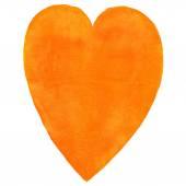 Watercolor heart orange color — Stock Photo