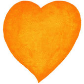 Watercolor heart orange color — Zdjęcie stockowe