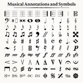 Musical Symbols and Annotations — Stock Vector