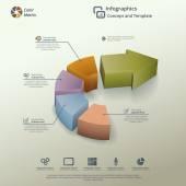 Arrow Pie Chart Infographic Background Concept — Stock Vector