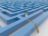 Maze Labyrinth 3D Render with Ladder and Planking — Stock Photo