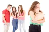 Teenagers bullying a girl — Stock Photo