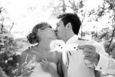 A bride and groom kissing — Stock Photo