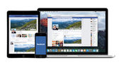 Facebook app on Apple iPhone iPad and Macbook Pro displays — Stock Photo