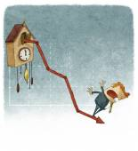Cuckoo clock growth graph — Stock Photo
