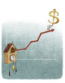 Dollar sign on financial growth chart — Stock Photo