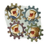 Four business people connecting inside cogs — Stock Photo