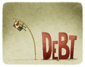 Jump over a debt — Stockfoto