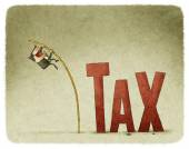 Jump over a tax — Stockfoto