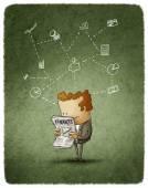 Businessman read  newspaper — Stock Photo