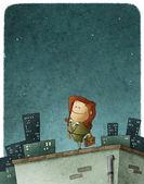 Entrepreneur heroine on roof — Stock Photo