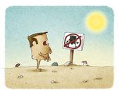 Homem nu com sinal proibido nudism — Fotografia Stock