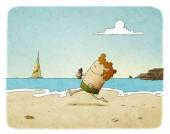 Man running on the beach — Stock Photo