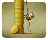 Climbing a stack of coins — Stock Photo