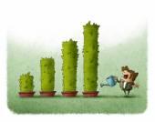 Businessman watering Bar graph plants — Stock Photo