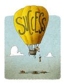 Businessman in Success balloon — Stock Photo