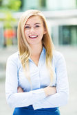 Businesswoman standing portrait — Stock Photo