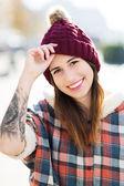 Girl wearing woolen cap — Stock Photo