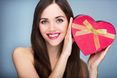 Beautiful girl with present box — Stock Photo