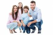 Happy family with little kids — Stock Photo