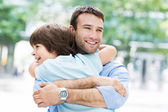 Father and little son hugging — Stock Photo