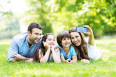 Happy young family making selfie — Stock Photo