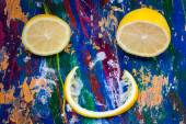 Citrus smile on colourful background — Stock Photo