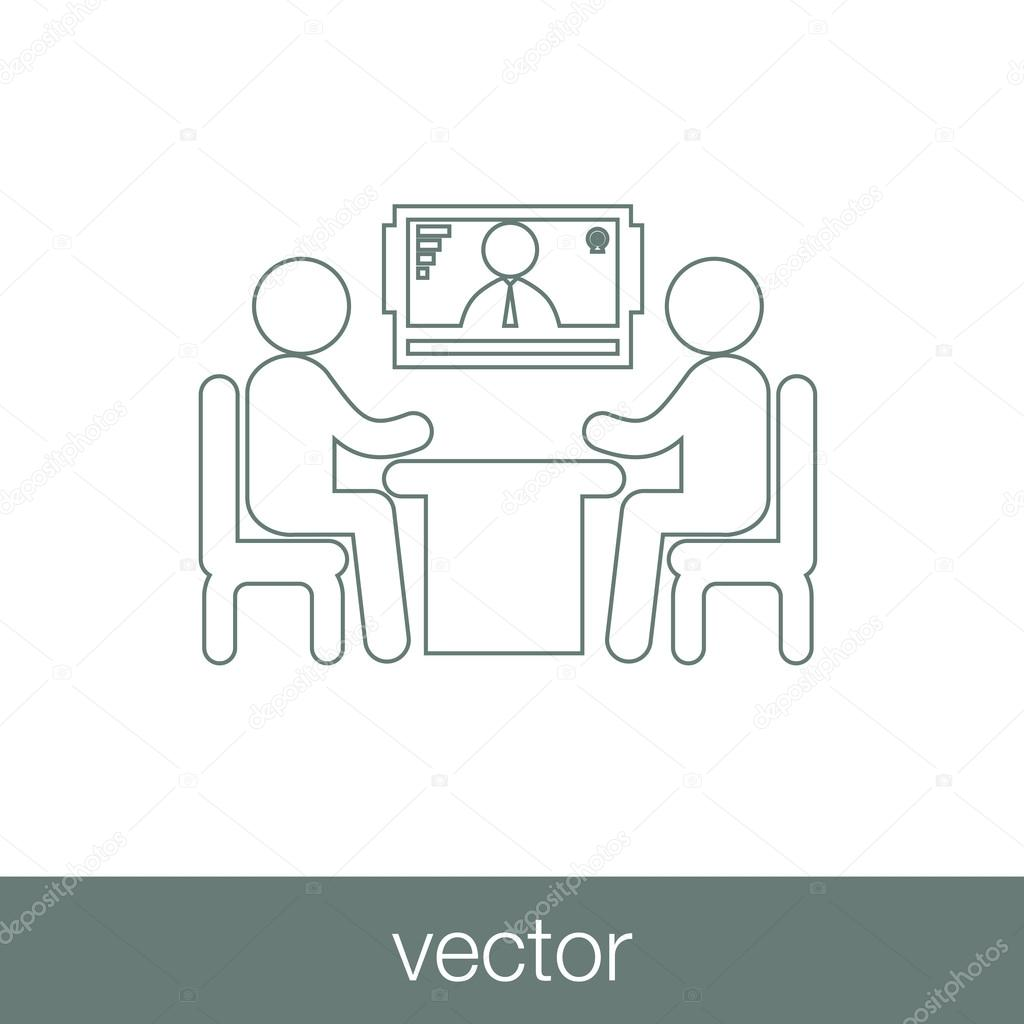 online interview video conference online meeting stock online interview video conference online meeting two human figures sitting around the table talking a human figure in the screen at the