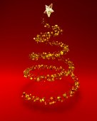 Golden stars in shape of xmas tree on red background — Stockfoto