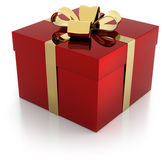 One red gift parcel with golden ribbon — Foto Stock