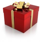 One red gift parcel with golden ribbon — Photo