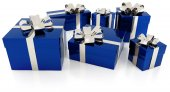 Pile of blue gift parcels with silver ribbon — Stock Photo