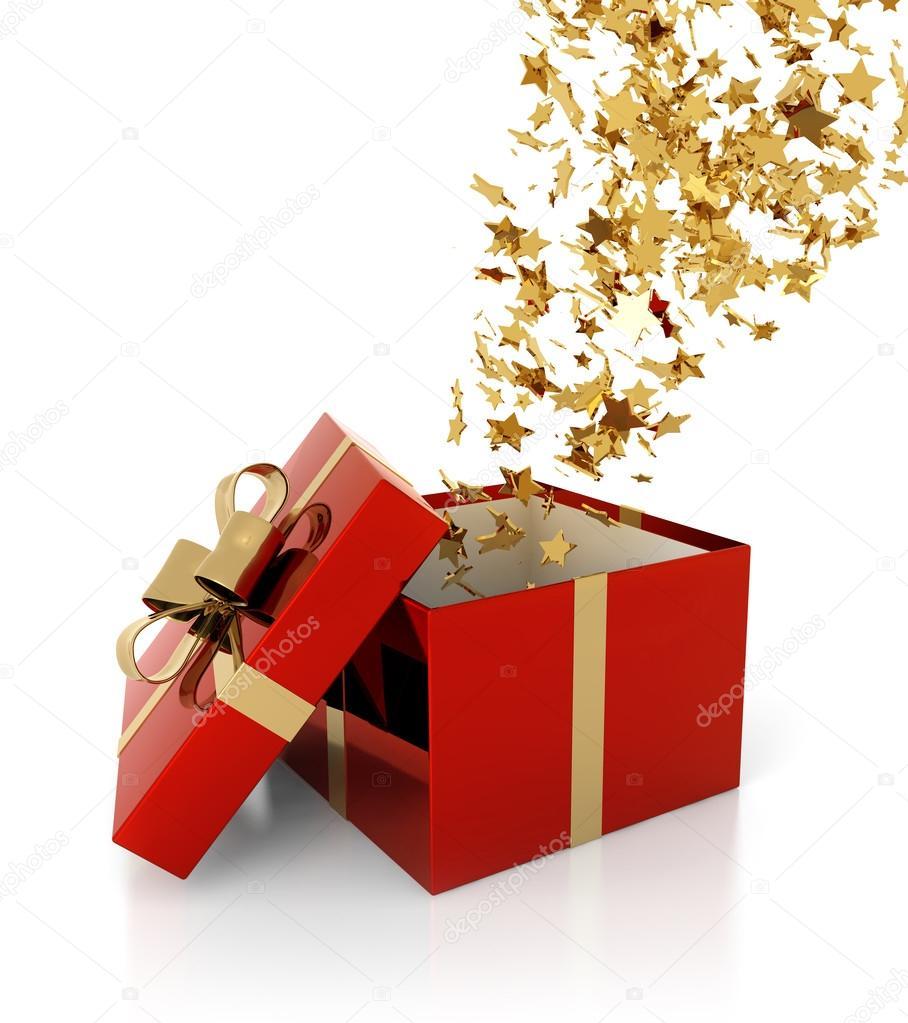 Открытый подарок на прозрачном фоне