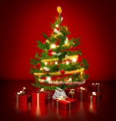 Gleaming christmas tree and presents in red background — Stok fotoğraf