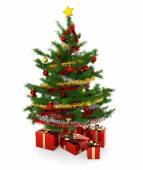 Christmas tree and gift parcels on white background — Stock Photo