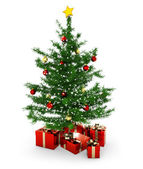 Christmas tree and gift parcels on white background — Stockfoto