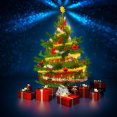 Christmas tree and gift parcels in a blue background — Stock Photo