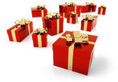 Set of red parcels with golden ribbon — Stockfoto